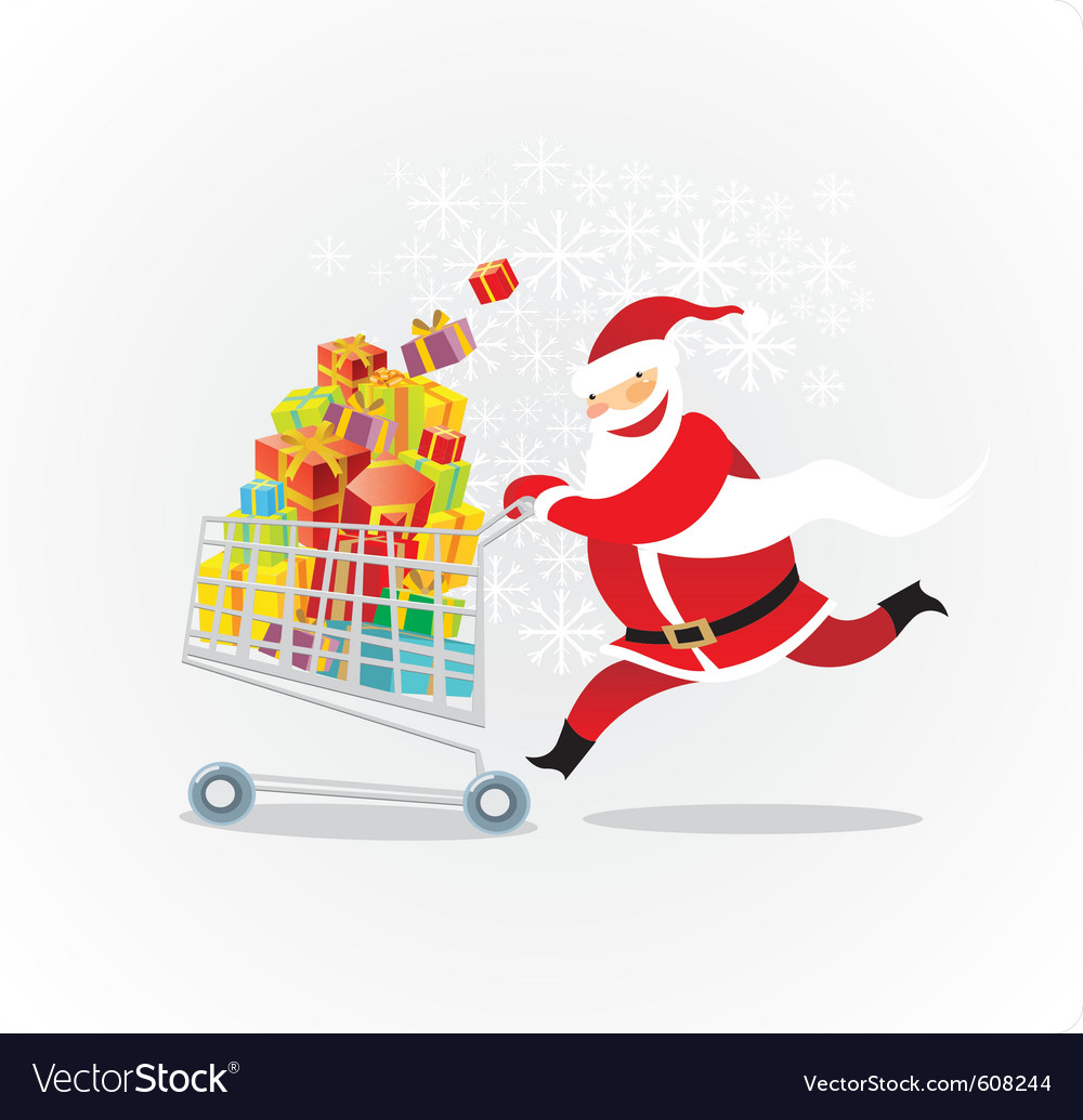 Santa on a shopping spree vector | Price: 3 Credit (USD $3)
