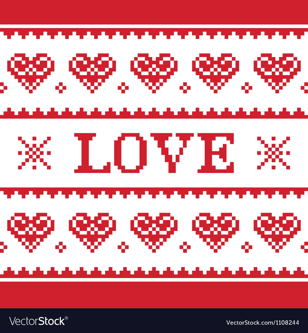 Valentines day love knitted pattern card vector | Price: 1 Credit (USD $1)