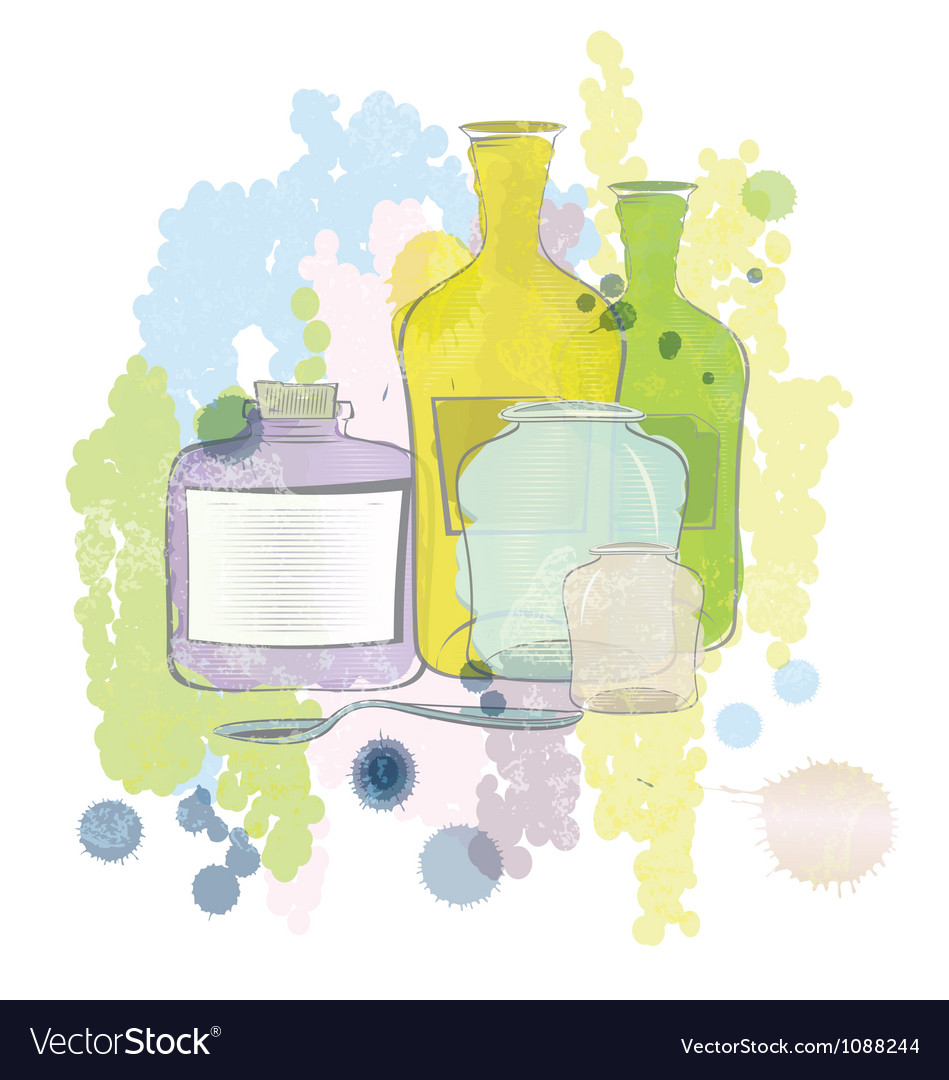 Water color jars and bottles vector | Price: 1 Credit (USD $1)