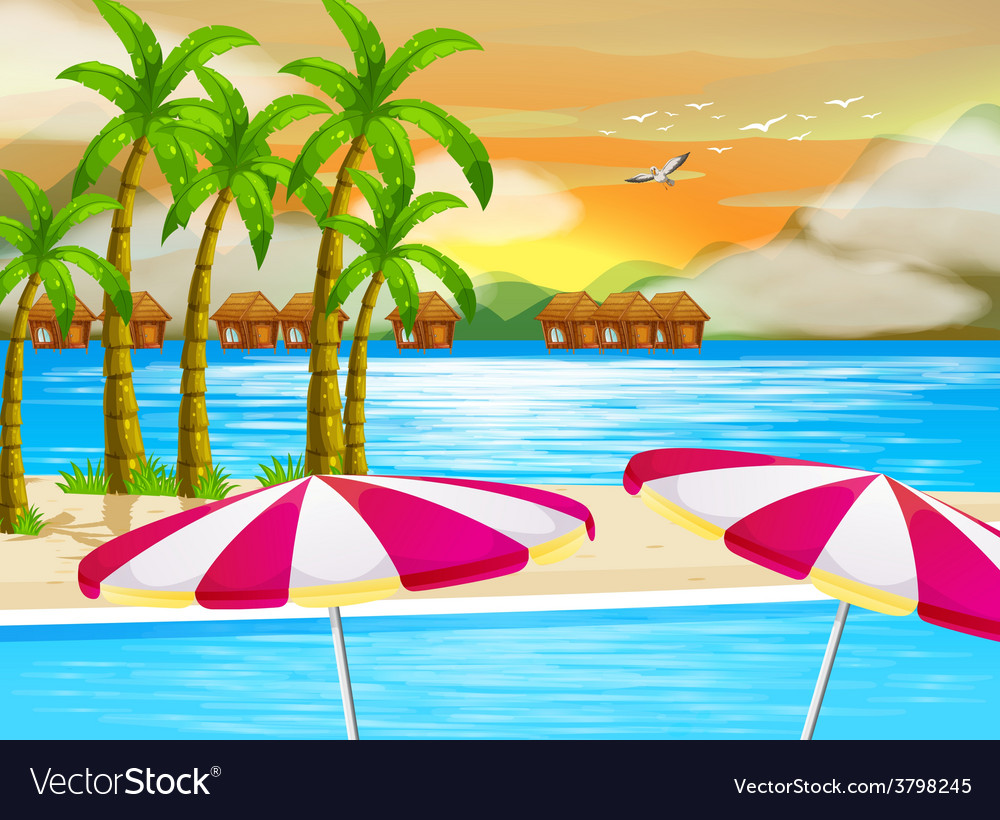 A beautiful view of the beach vector   Price: 1 Credit (USD $1)