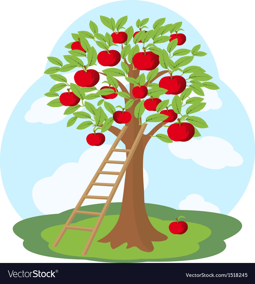 Apple tree and wooden staircase vector | Price: 1 Credit (USD $1)