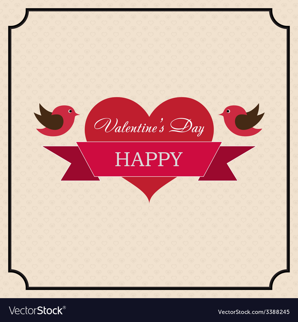 Greeting card happy valentines day in the old vector | Price: 1 Credit (USD $1)