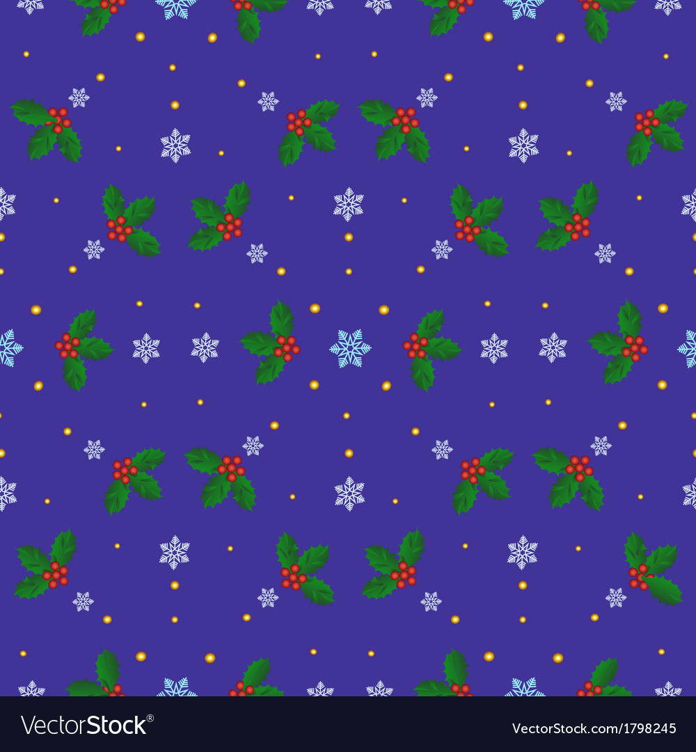Holly berries and snowflakes vector   Price: 1 Credit (USD $1)