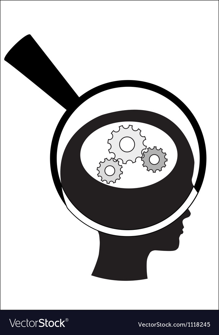 Man and thinking and robot mechanisms and gears vector | Price: 1 Credit (USD $1)
