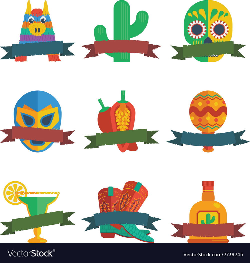 Mexican badges vector | Price: 1 Credit (USD $1)