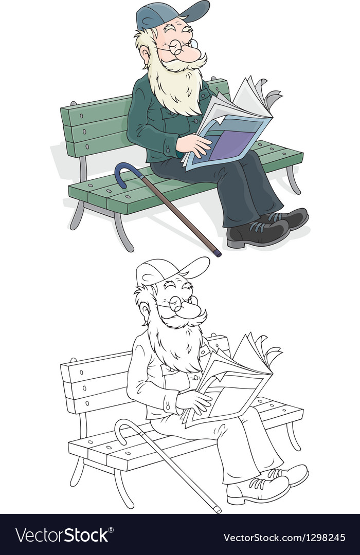 Old man reading vector | Price: 1 Credit (USD $1)