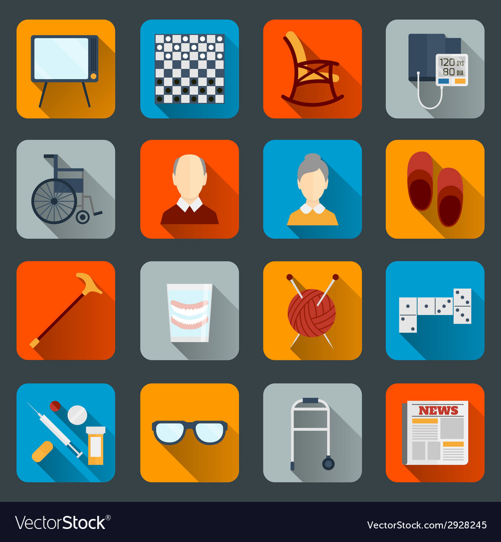 Pensioners life icons flat vector | Price: 1 Credit (USD $1)