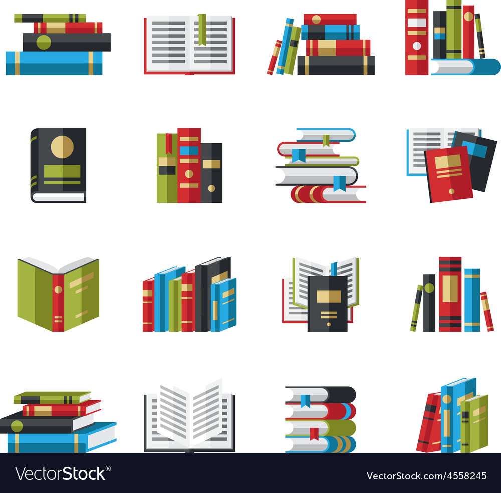 Set of book icons in flat design style vector | Price: 3 Credit (USD $3)