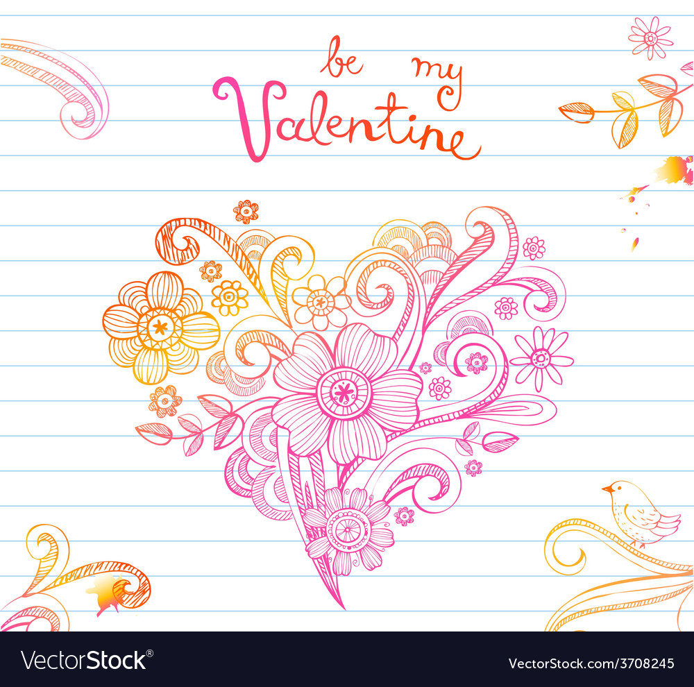 Sketchy doodle heart vector | Price: 1 Credit (USD $1)