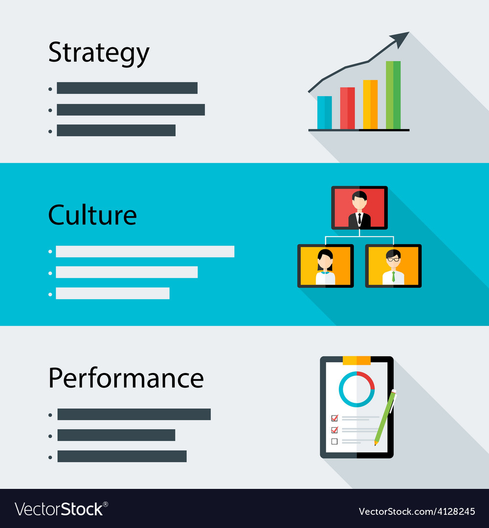 Strategy culture performance business template vector | Price: 1 Credit (USD $1)