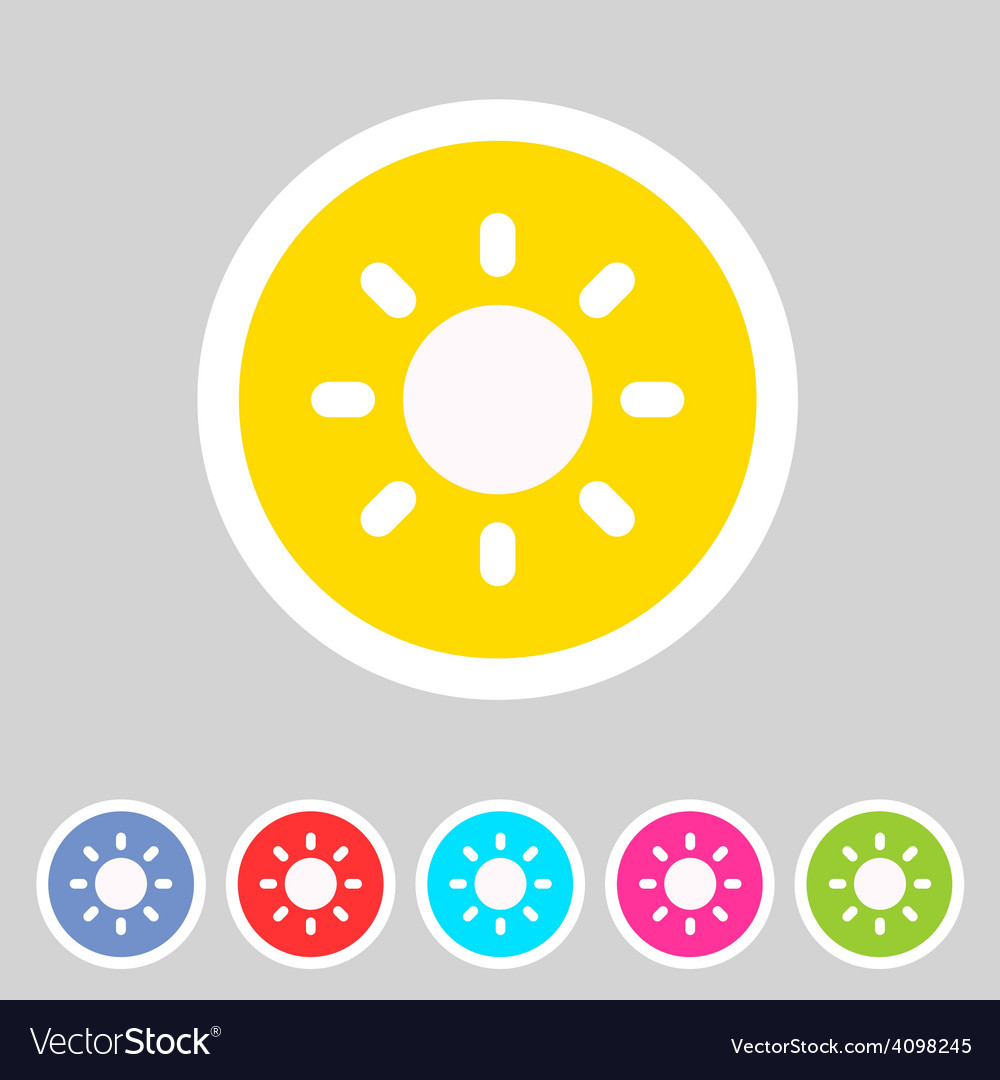 Sun badge flat icon sign set symbol vector | Price: 1 Credit (USD $1)