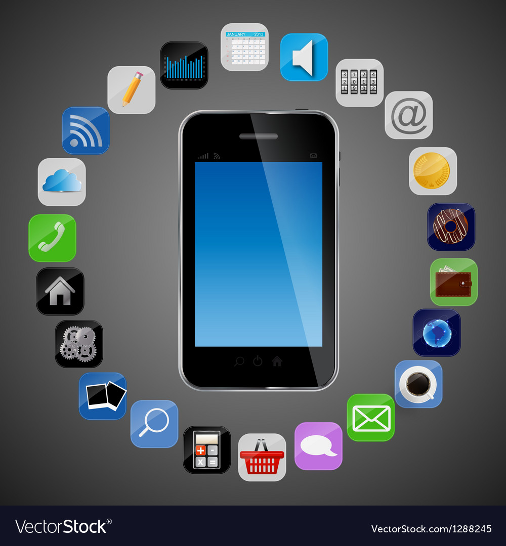 Universal design phone with apps icons vector | Price: 1 Credit (USD $1)