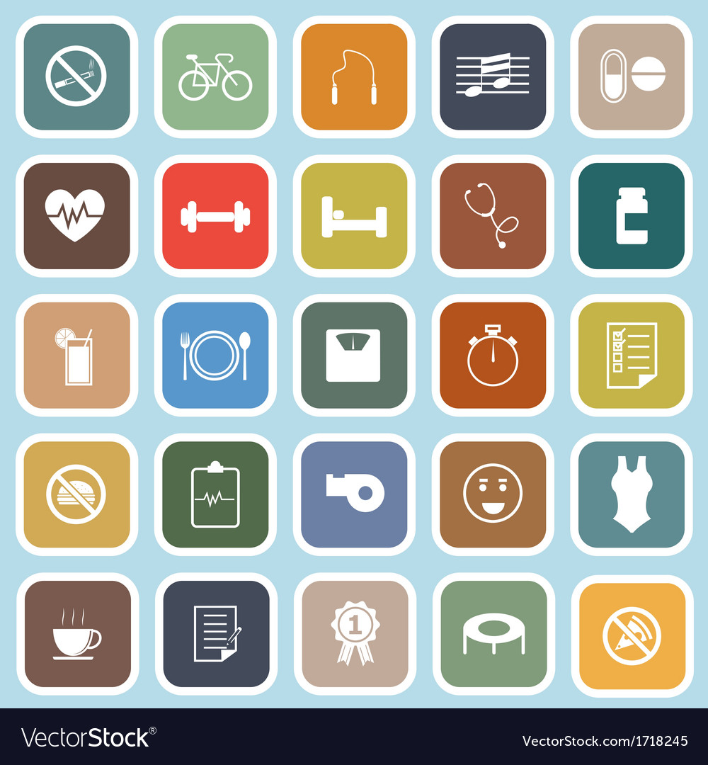 Wellness flat icons on blue background vector | Price: 1 Credit (USD $1)