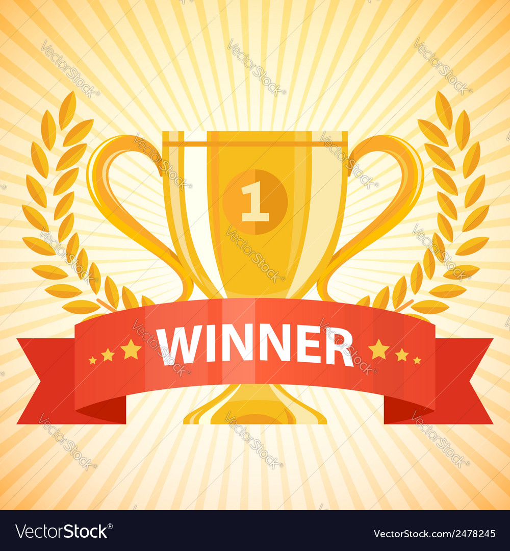 Winner cup with ribbon vector