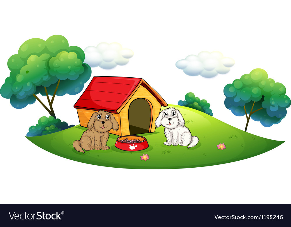 An island with a doghouse and two puppies vector | Price: 1 Credit (USD $1)