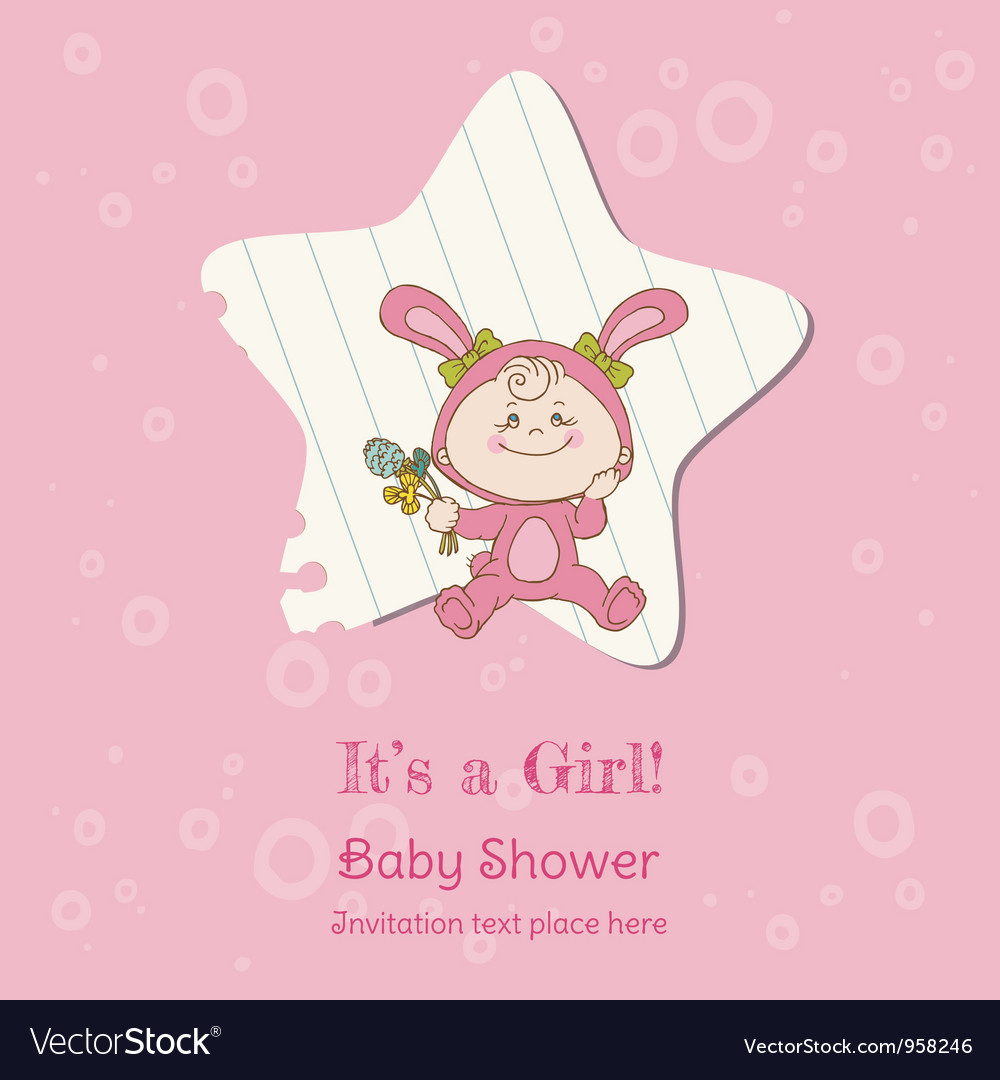 Baby girl shower and arrival card vector   Price: 1 Credit (USD $1)