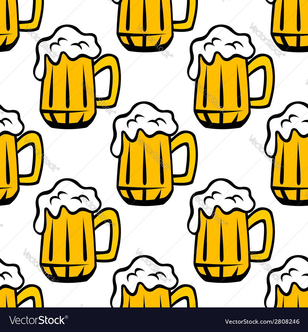 Beer tankard seamless pattern vector | Price: 1 Credit (USD $1)