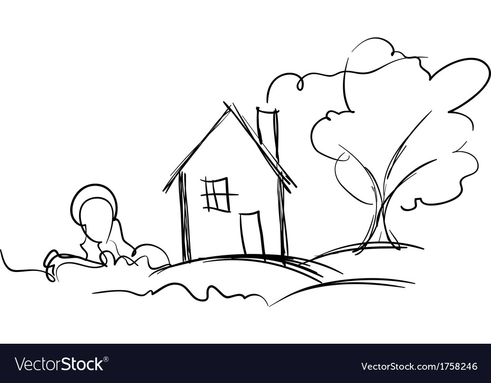 Black and white sketch of village house and tree vector | Price: 1 Credit (USD $1)