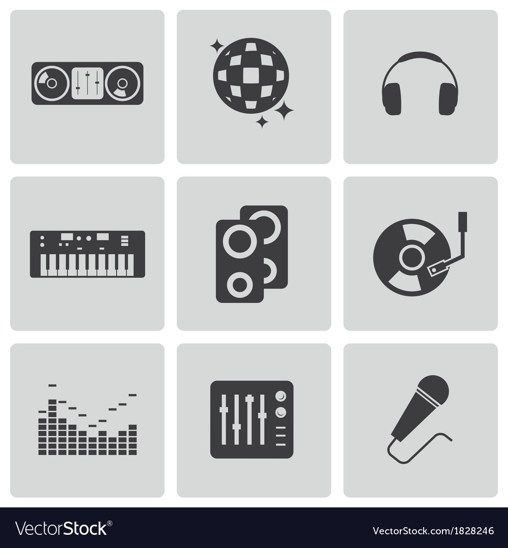 Black dj icons set vector | Price: 1 Credit (USD $1)