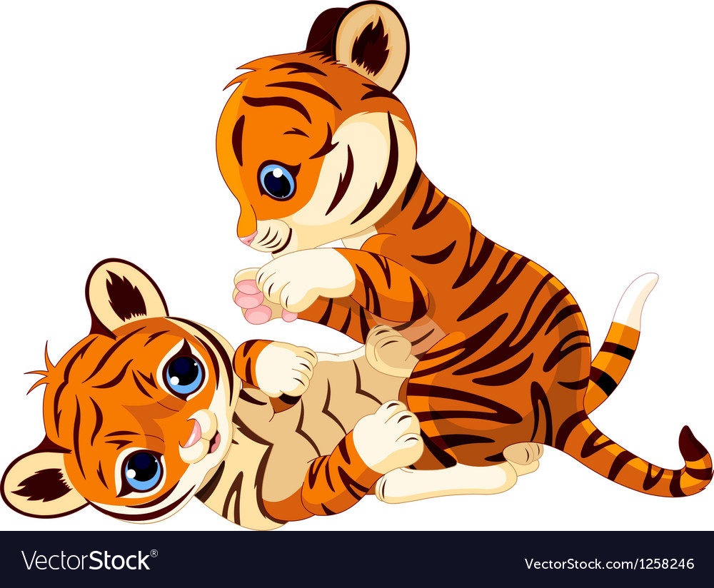 Cute playful tiger cub vector | Price: 3 Credit (USD $3)