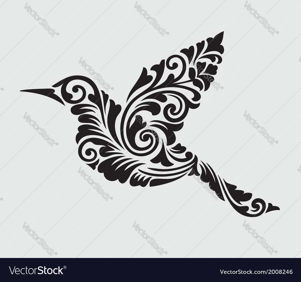 Flying bird floral ornament decoration vector | Price: 1 Credit (USD $1)