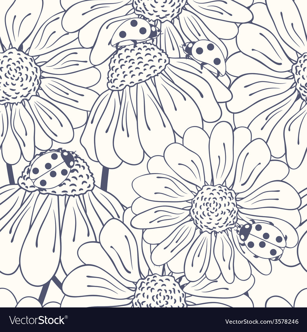 Ladybug and daisy outline seamless pattern vector | Price: 1 Credit (USD $1)