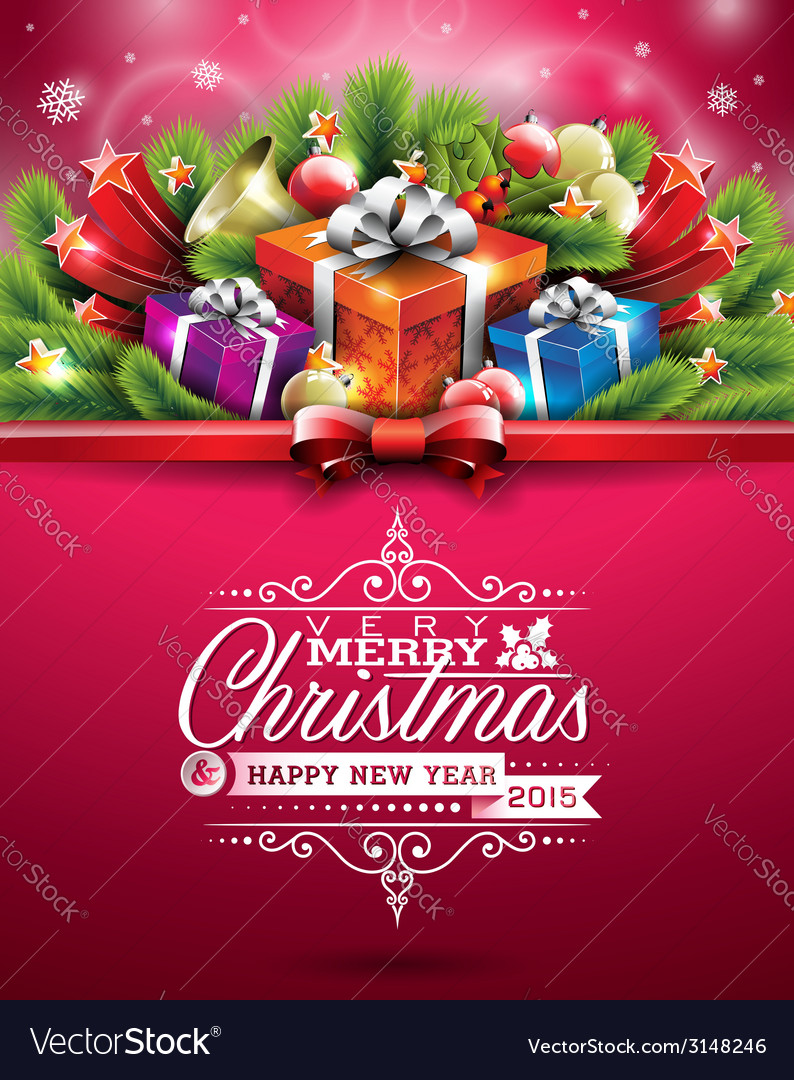Merry christmas typographic design vector | Price: 3 Credit (USD $3)