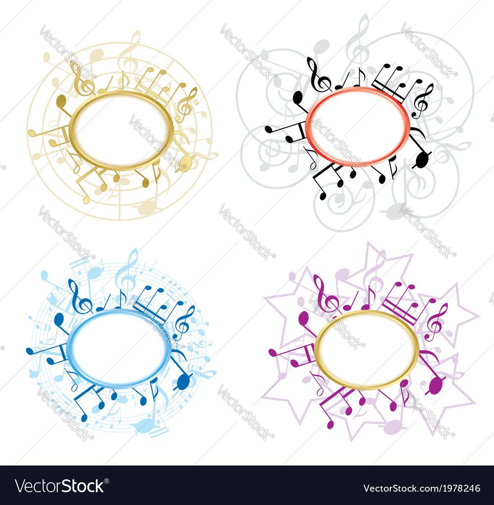 Music oval frames with notes - set vector | Price: 1 Credit (USD $1)