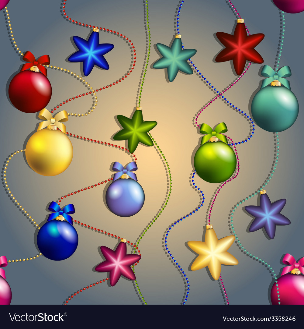 New year pattern with christmas tree toys ball and vector   Price: 1 Credit (USD $1)