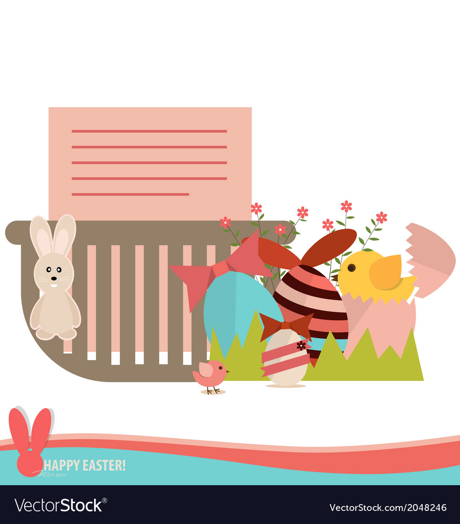 Note paper in basket with easter eggs and flower vector | Price: 1 Credit (USD $1)