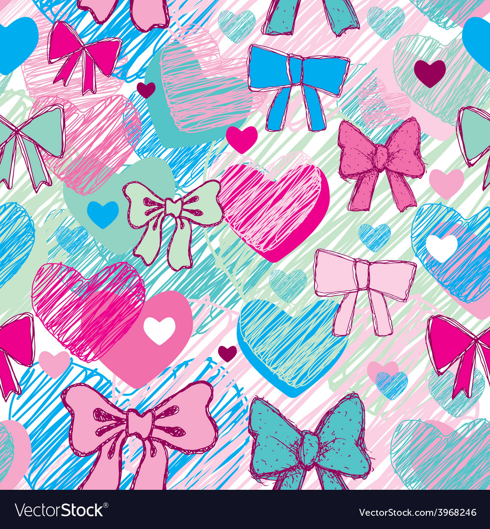 Seamless pattern with hearts and bows pink blue vector | Price: 1 Credit (USD $1)