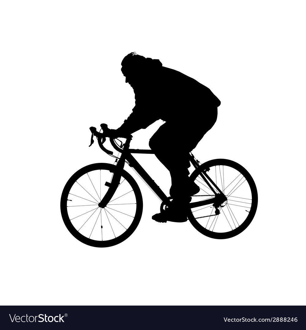 Silhouette of man riding on a bicycle vector | Price: 1 Credit (USD $1)