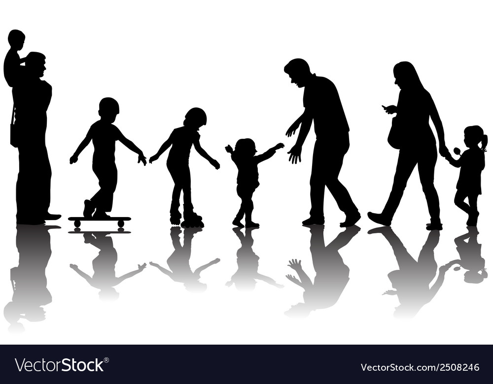 Silhouettes of parents with kids in the park vector | Price: 1 Credit (USD $1)