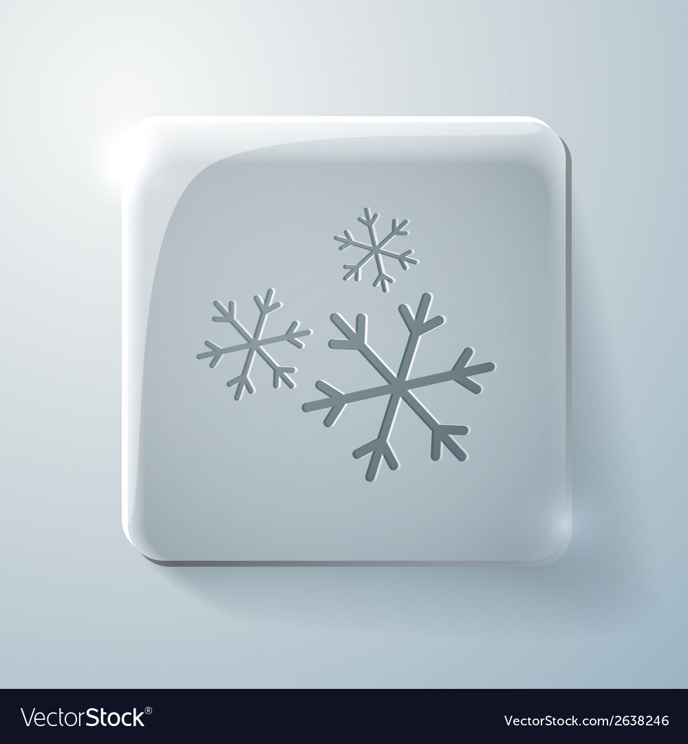 Snowflake glass square icon with highlights vector | Price: 1 Credit (USD $1)