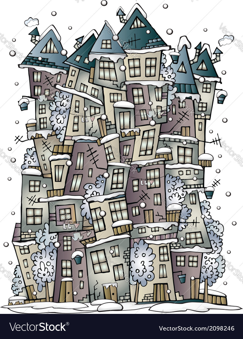 Winter fantasy fairytale drawing town vector | Price: 1 Credit (USD $1)