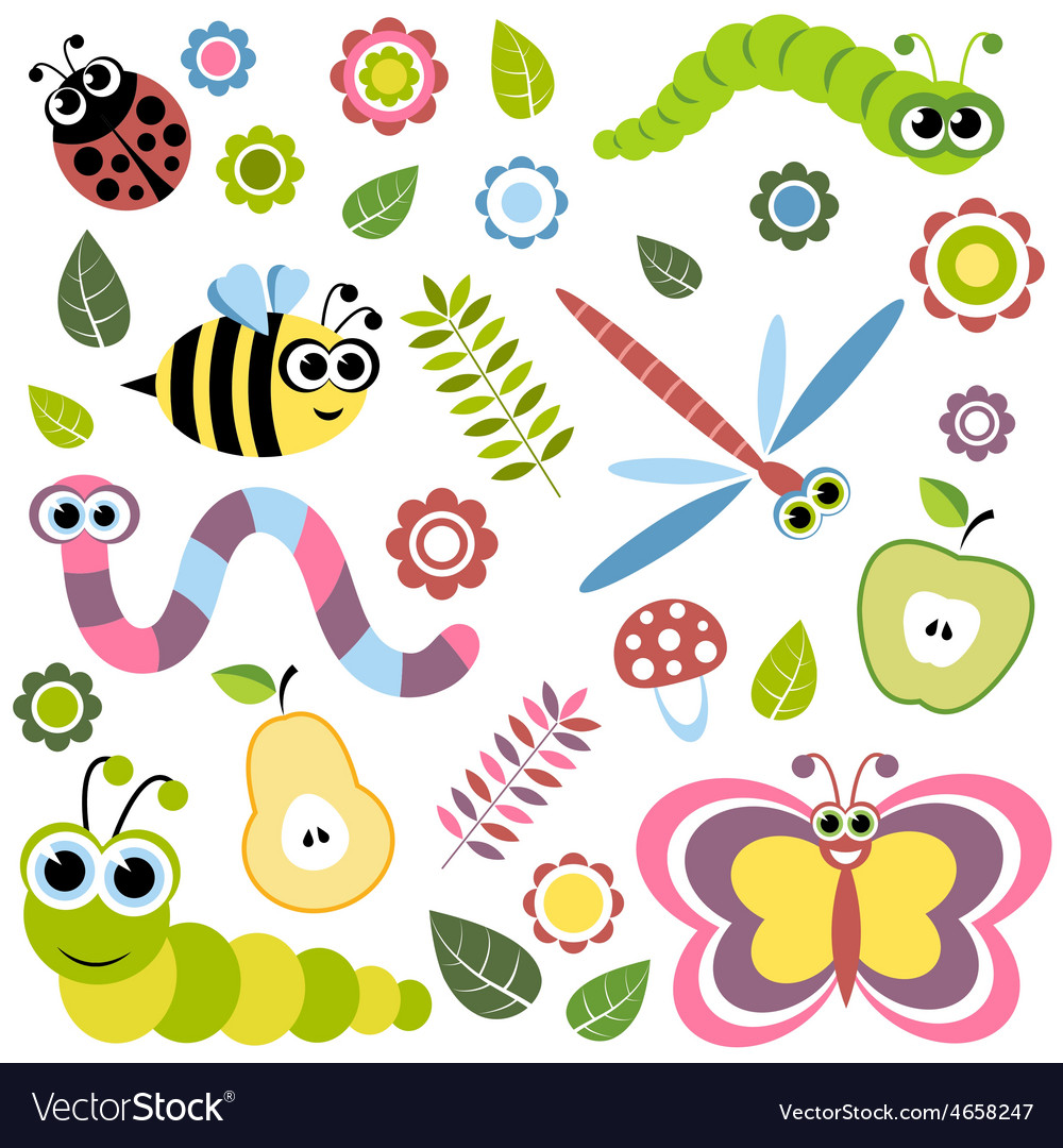 Background with cartoon insects flowers leaves vector | Price: 1 Credit (USD $1)