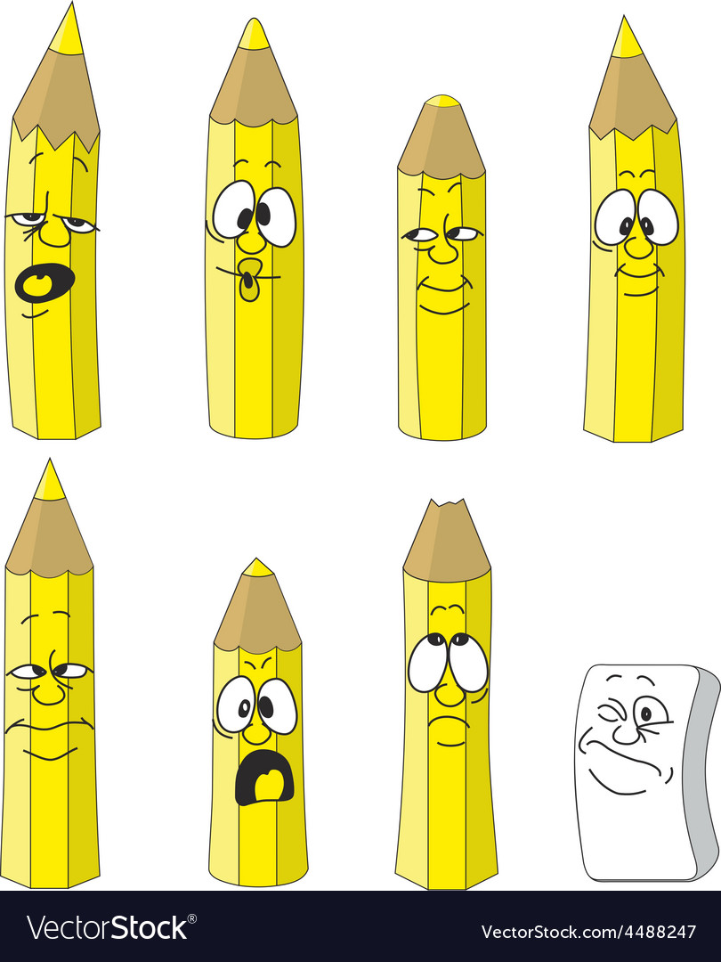 Cartoon emotional yellow pencils set color 13 vector | Price: 1 Credit (USD $1)