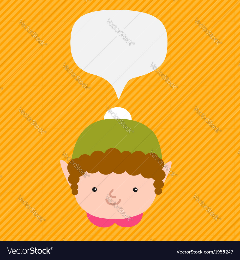 Christmas elf with speech bubble vector | Price: 1 Credit (USD $1)