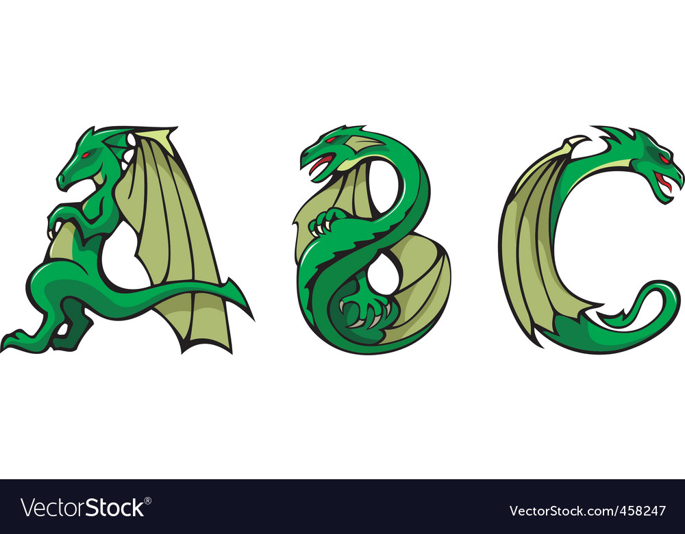 Dragons alphabet abc vector | Price: 1 Credit (USD $1)