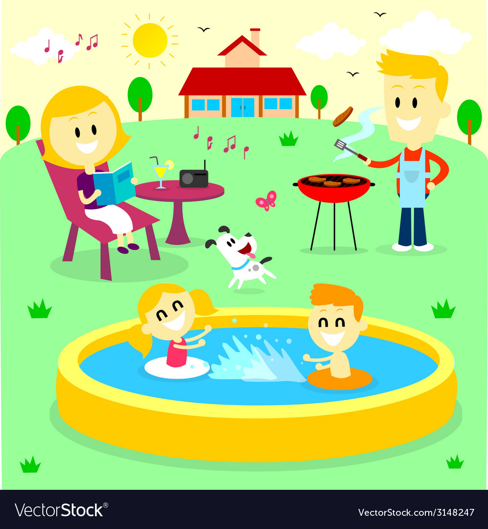 Family fun time at the backyard house vector | Price: 1 Credit (USD $1)