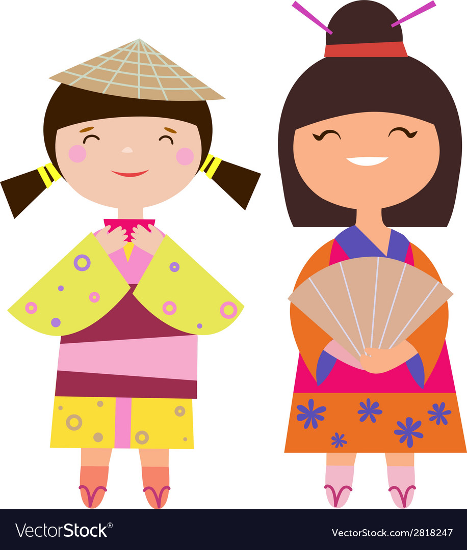 Two asian girls vector | Price: 1 Credit (USD $1)