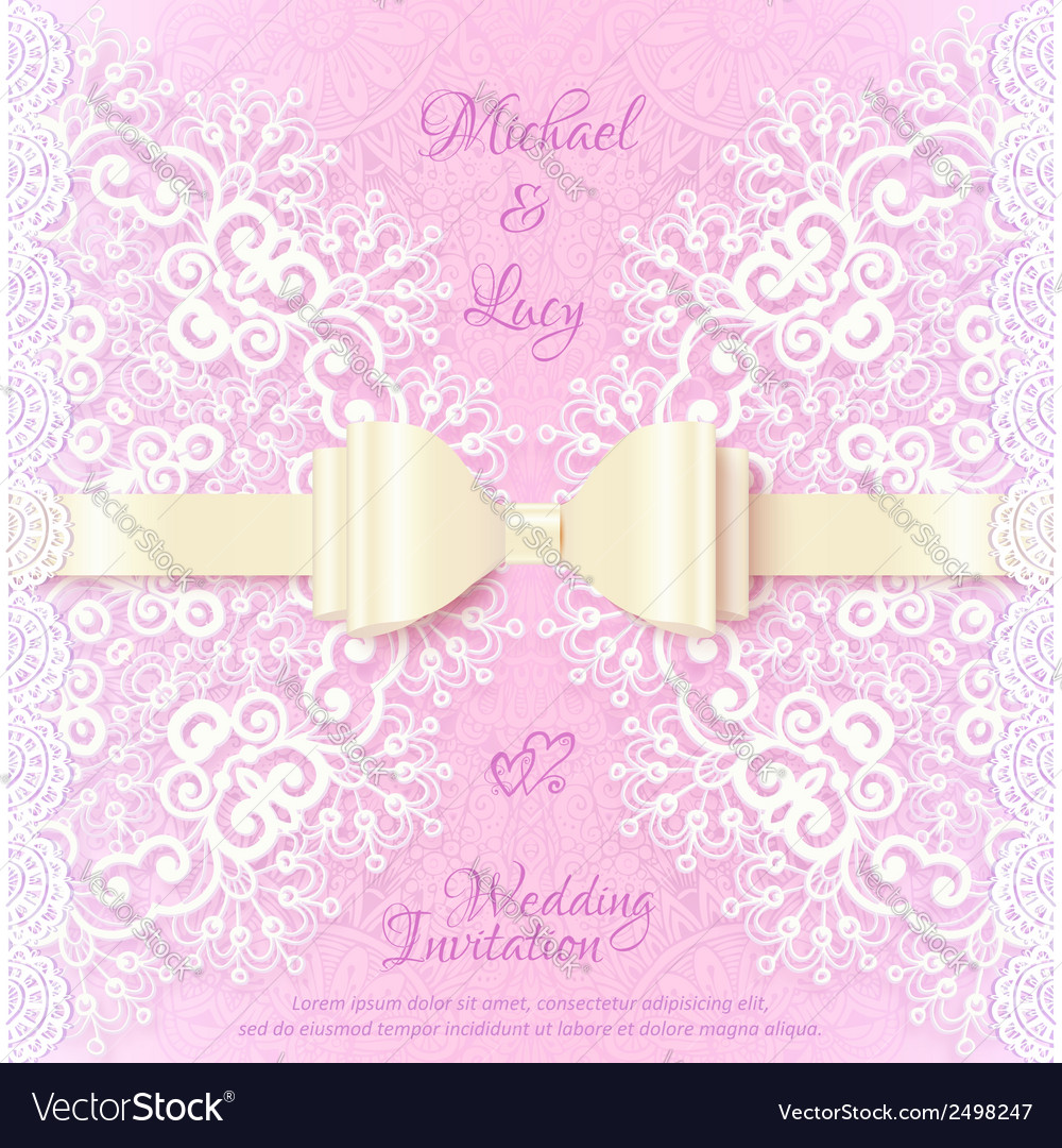 Vintage wedding card template with white bow vector | Price: 1 Credit (USD $1)