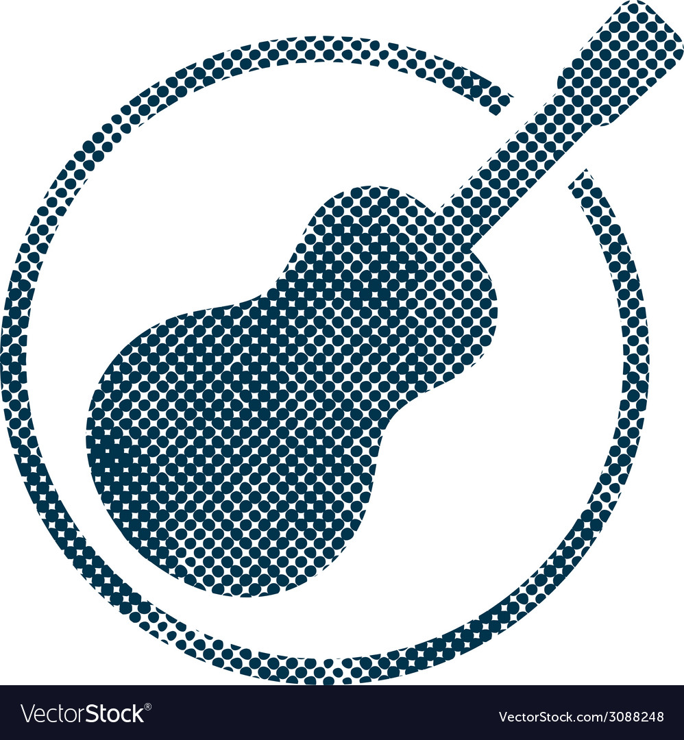 Acoustic guitar icon with halftone dots print vector | Price: 1 Credit (USD $1)