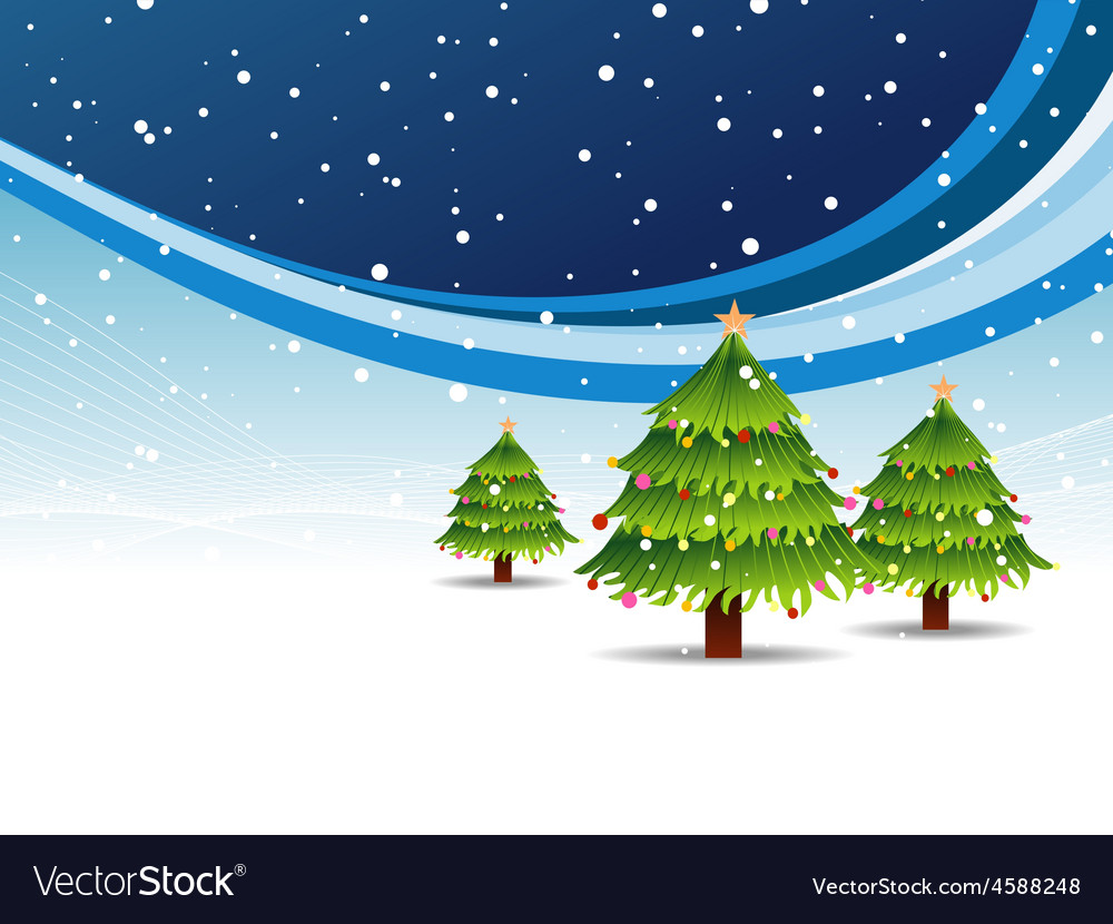 Christmas tree in snowy background vector | Price: 1 Credit (USD $1)