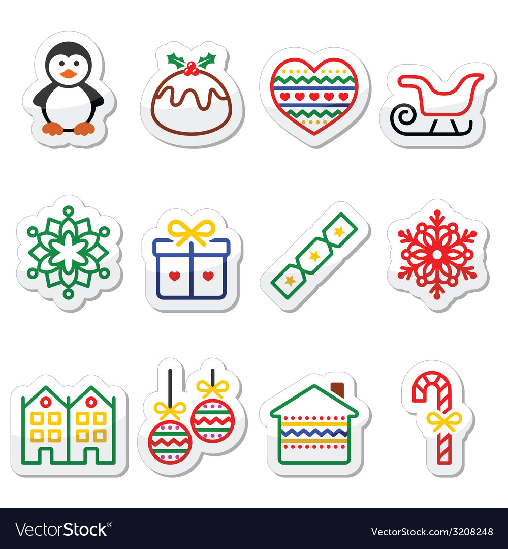 Christmas winter icons with stroke - penguin chr vector | Price: 1 Credit (USD $1)