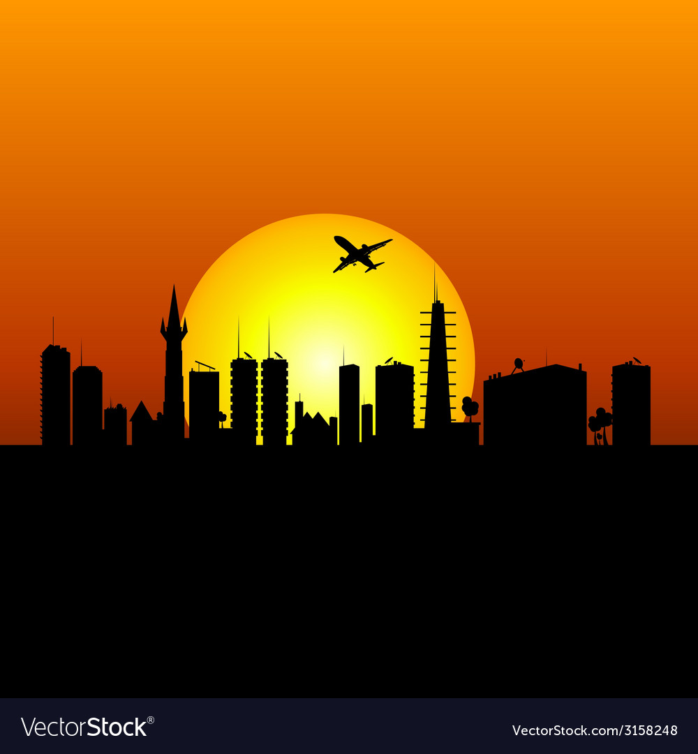 City silhouette with sunshine and plane vector | Price: 1 Credit (USD $1)