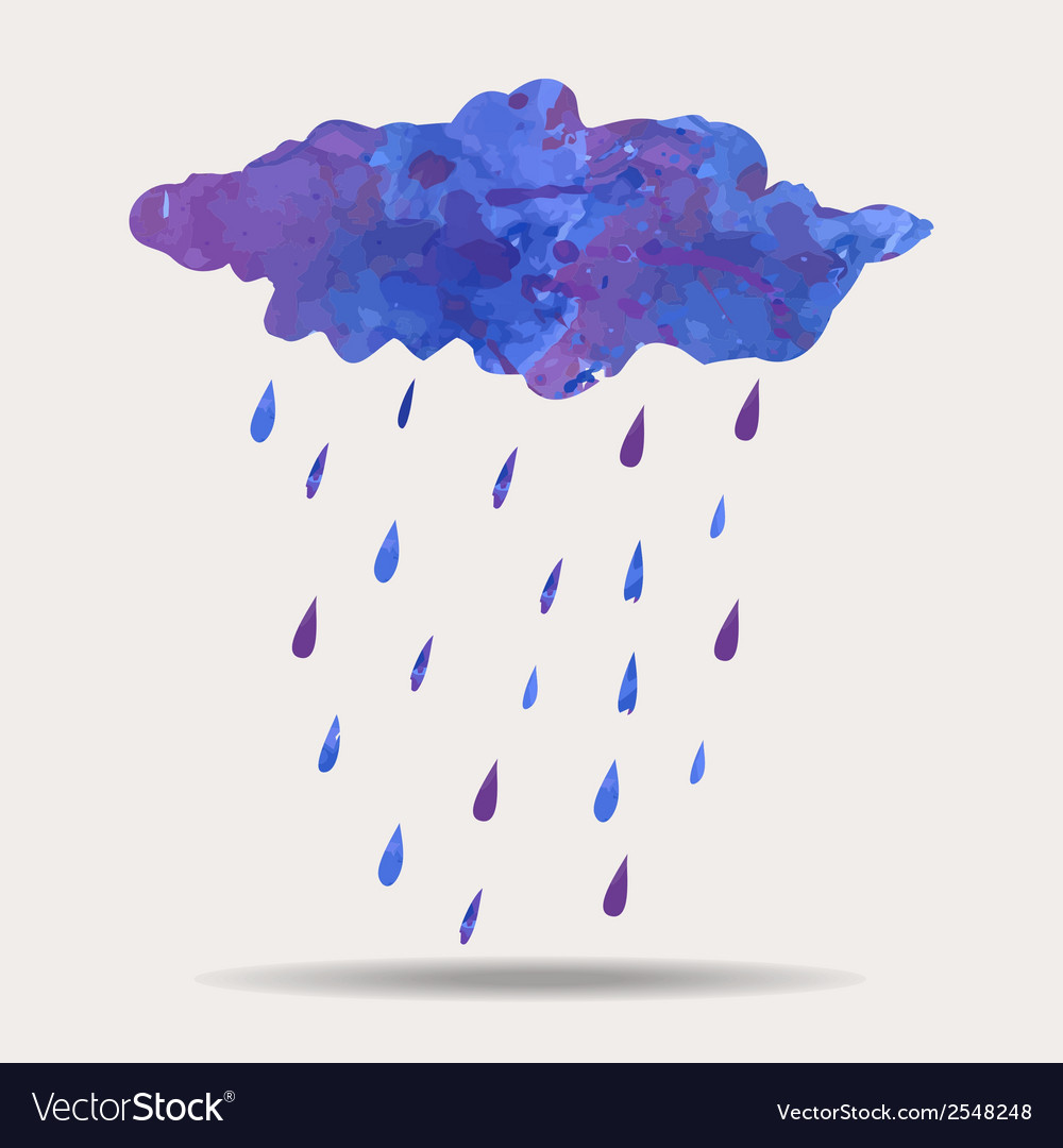 Colorful of watercolor rainy cloud vector | Price: 1 Credit (USD $1)