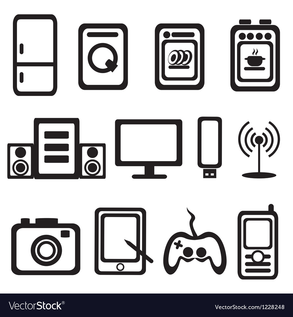 Electric goods of household appliance icons set vector | Price: 1 Credit (USD $1)