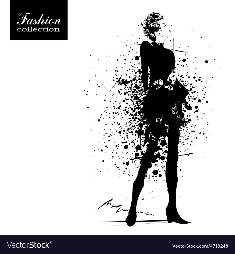 Fashion girl in sketch-style vector   Price: 1 Credit (USD $1)