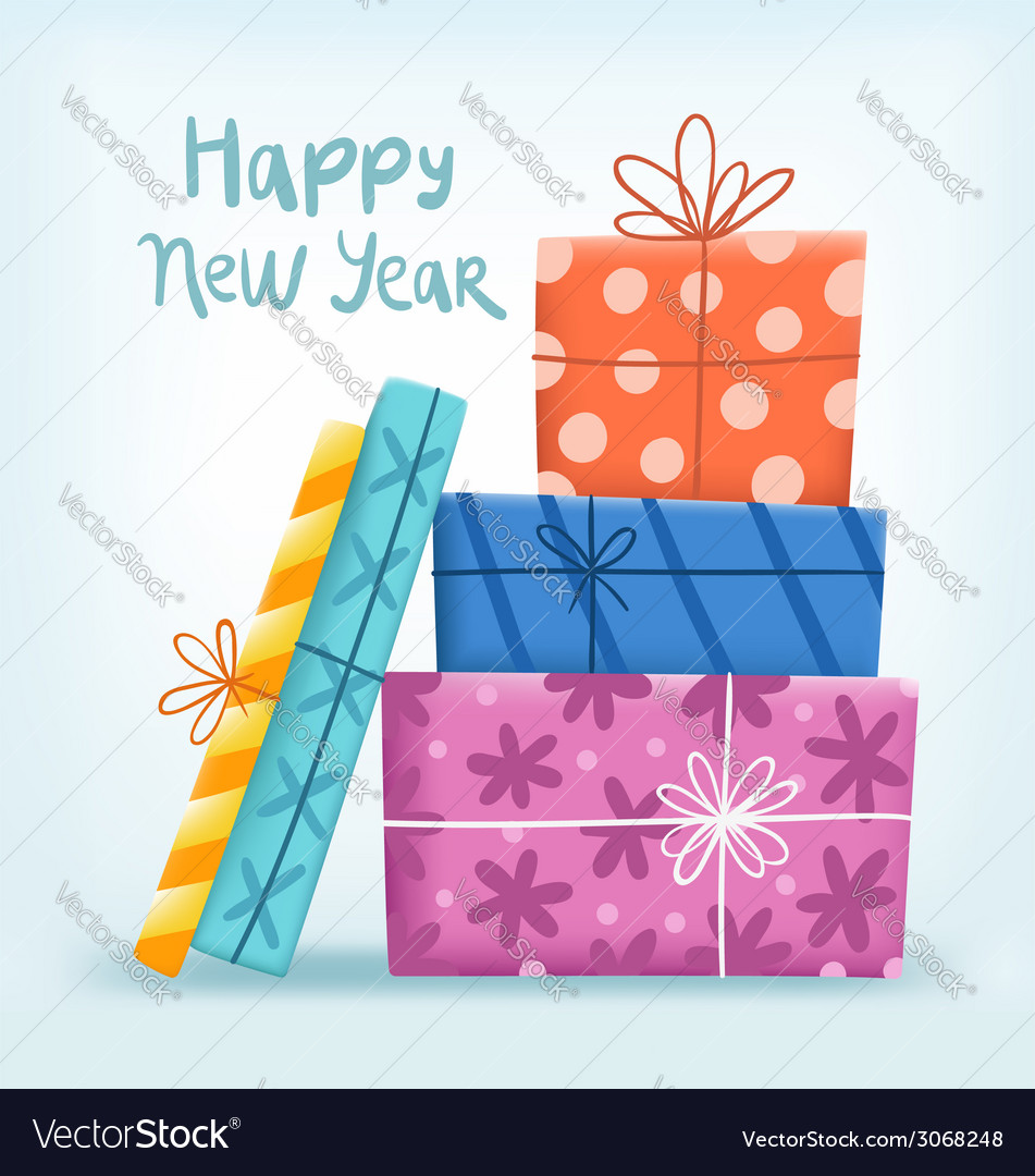 Happy new year greeting with gift boxes vector | Price: 1 Credit (USD $1)